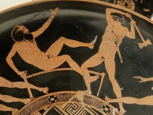 Theseus slays Procrustes